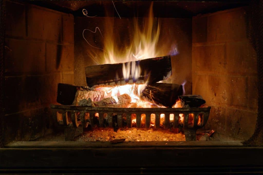 Burning Wood In A Fireplace